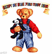"""4.5"""" BLUE JEAN TEDDY BEAR & BANNER CHARACTER FABRIC APPLIQUE IRON ON"""