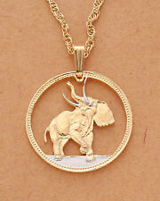 "Elephant Pendant & Necklace, Liberia Coin hand Cut , 1"" in diameter ( # 376 )"