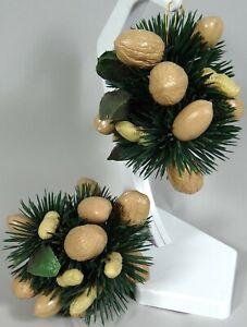 Vtg Xmas Decor Hanging Ball Wreath Nut Walnut Peanut Pecan Brazil Garland 60s KT