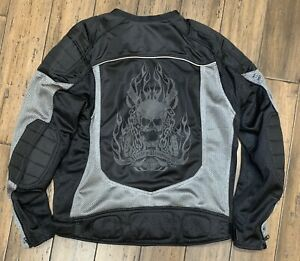 Rare Harley Davidson Mesh Reflective Piping Skull Riding Jacket  Size XLarge
