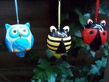 Conjunto de 3 Carillón de viento Búho/Ladybird/Bumblebee (cerámica)