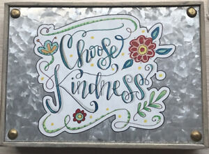 """New The Spring Shop Metal Decor """"Birds, Bugs, & Blooms: Choose Kindness"""" 5x7x1.5"""