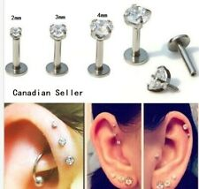 Pair lip Stud ear bone cartilage tragus Body Piercing Stainless Steel punk gift