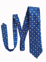 BURBERRY LONDON Mens VTG Silk Blue Geometric Pattern Tie Made in France 57-3.5