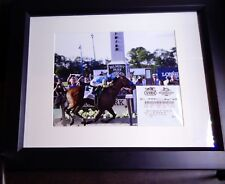 2015 BELMONT STAKES 8X10 PHOTO & $2 UNCASHED WIN TICKET AMERICAN PHAROAH FRAMED
