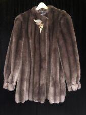 Vintage Faux Fur Outer Layer Brown Coat Leather Appliqué Button & Clasp Sz 13/14