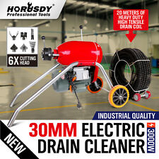 Electric Drain Cleaner Heavy Duty 30mm Coil Plumbing Snake Sewerage Pipe Machine