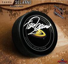 TEEMU SELANNE Signed Anaheim Ducks Official Game Puck