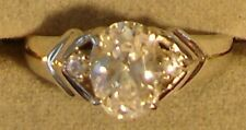 Ladies' Vintage 1980's Silver Overlay Oval Cubic Zirconia Rings in Size 6 (3193)