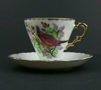 Nikoniko China Tea Cup & Saucer Set Hand Painted Cardinal Bird Gold Trim EW-345