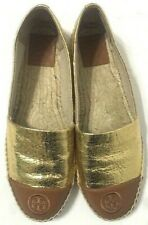 Tory Burch Espadrille Flat Shoes Gold Colorblock Cap Toe Slip On Womens Size 9