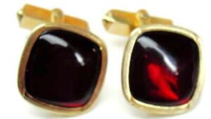 Swank Vintage Cufflinks 1/20 12K Yellow Gold Filled Red Center Square Bullet