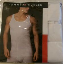 """MENS NEW 3 PACK TOMMY HILFIGER CLASSIC TANK TOP LARGE 42-44"""" WHITE 1135"""