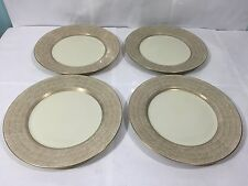 "LOT 4 FITZ & FLOYD ADOBE GOLD FINE PORCELAIN 7.5"" SALAD SIDE PLATES EXC COND"