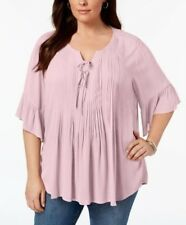 Style & Co Plus Size 3X,2X,1X Blouse Women Pintucked Ruffled Peasant Top NEW $56