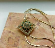Genuine Vintage Necklace Set With Clear & Emerald Green Rhinestones Toggle Clasp