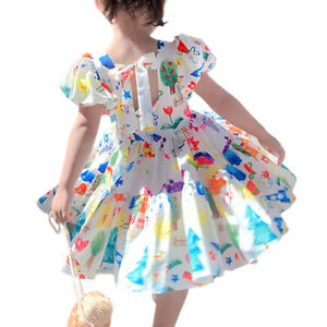 Kids Girls Funny Painting Print Shirt Dress Summer Party Beach Dresses 1-6 Years