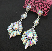 Women's AB Crystal Rhinestone Flower Betsey Johnson Drop Dangle Earrings