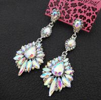 Women's AB Crystal Rhinestone Flower Betsey Johnson Drop Dangle Earrings