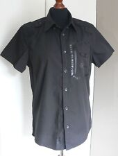 MENS DUCK & COVER VULCAN SMALL BLACK MILITARY STYLE SHORT SLEEVED SHIRT BUTTONS