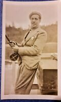 Vintage 1920's Photo of Man Fishing Rod & Reel in Wool Suit Turtleneck & Beret