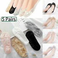 5 Pairs Women Lace Socks Boat Invisible Anti-Skid Low Cut Non-Slip Liner Slipper