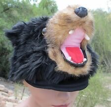 Grizzly BLACK BEAR HAT plush ADULT cub scout grizzlies CAP costume head helmet