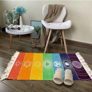 Colorful Chakras Polyester Floor Carpet Handmade Woven Area Tassel Tapestry Mat