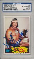1985 Topps WWF Jimmy Snuka Signed Card #6 Vintage Auto PSA/DNA Rare