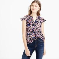 J. CREW Women Blue Pink Hibiscus Print Flutter Sleeve 100% Silk Top XS $88