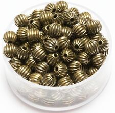 5 MM Vintage Brass Round Corrugated Hollow Beads  Pkg. 50 p.  , USA