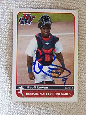 Tampa Bay Rays Geoff Rowan Signed 2012 Hudson Valley Renegades Card Auto
