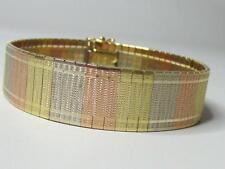 Estate 14K Solid Tri Yellow Rose White Gold Heavy Italian Soft Bangle Bracelet