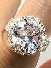 LARGE 10 CT OVAL CUT HALO ENGAGEMENT ROYAL DIAMOND RING VS1, 925 STERLING SILVER