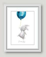 Nursery Prints Childrens Bedroom Picture Decor Boy Blue Baby Rabbit Wall Art A4