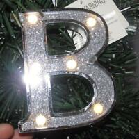 NEW Trimmerry Silver Glitter Letter Initial Monogram B Lights Christmas Ornament