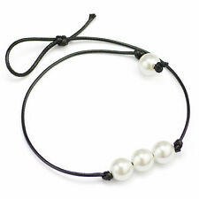 Newly Elegant Three Pearl Pendants Black Leather Cord Choker Collar Necklace Hot