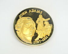 John Adams 1735-1826 Gold Electro Plate Proof 1 oz. Sterling Silver Medal Coin