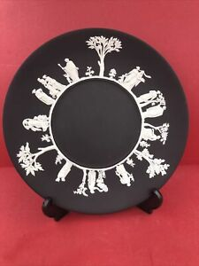 wedgwood jasper ware Beautiful White On Black Large Plate 24 Cm