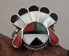 Vintage ZUNI Multicolor Inlay SUNFACE w/ HEADDRESS Sterling Silver Ring - Size 7