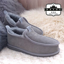 Men's Luxury Handmade 100% Genuine Sheepskin Suede Fur Slippers Hard EVA Sole
