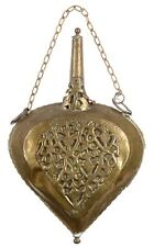 Powder Flask Antique Brass Ornate Engraved Large  Bellows Shaped