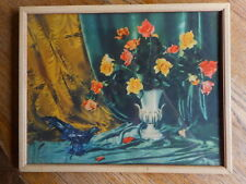 VINTAGE PRINT PICTURE Pink Yellow Roses Bird Drape White Vase AS IS apx 14 x 11