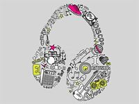 ART PRINT POSTER PAINTING DRAWING CARTOON HEADPHONE THEMED TYPOGRAPH LFMP0976