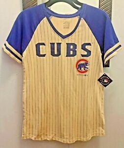 Chicago Cubs Girls Glitter Logo Pinstripe Raglan Shirt NWT Free Shipping!