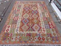 Kilim Old Traditional Hand Made Afghan Oriental Red Wool Large Kilim 247x181cm