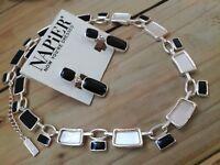 """Napier"" Black Enamel & Mother Of Pearl Oblong Links Necklace & Clip Earrings"