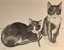 TWIN TUXEDO CATS - Small, art reproduction, artist, ink, realism, cat