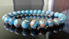 """Blue Banded Turquoise Gemstone Bead Bracelet for Men (On Stretch) 8mm AAA - 8"""""""