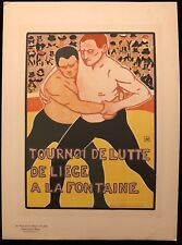 """A RASSENFOSSE  """"TOURNOI DE LUTTE DE LIEGE""""  PLANCHE DES MAITRES DE L'AFFICHE"""